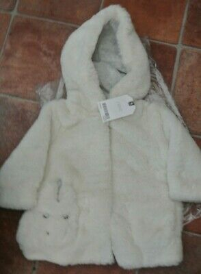 New Next baby girls so soft furry hooded coat Ivory 3-6 months