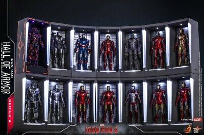 Hot Toy Iron Man 3 Mini Hall Of Armor Figure Model Garage 2.0 HT Collectble Toys
