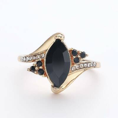 Luxury 14k Yellow Gold Filled Black Stone Ring Wedding Engagement Party Jewelry