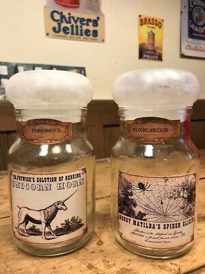 2 Vintage Style Witches Potion Poison Jars