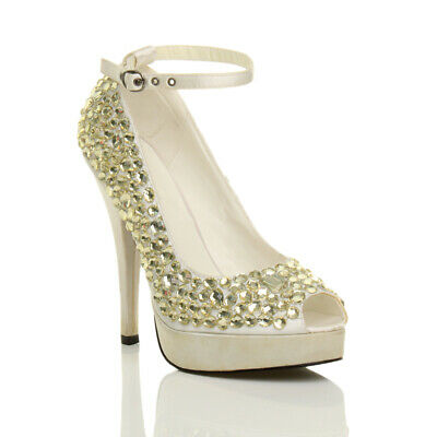 Womens Ladies Wedding Evening Prom Bridal High Heel Sandals Shoes Size 5 38