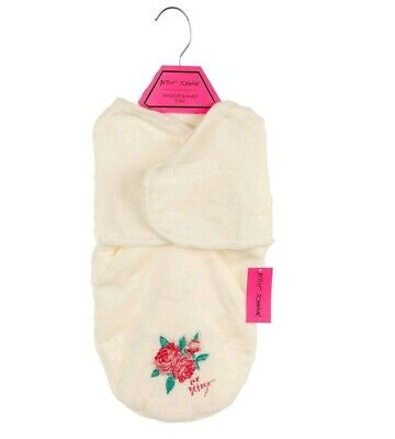 NEW Betsey Johnson Baby Girls Super SOFT White Swaddling Blanket (0-3 Months)