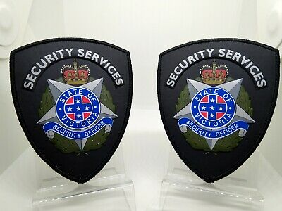 ( Two) Black Security Officer Arm Patches 3D PVC plastic