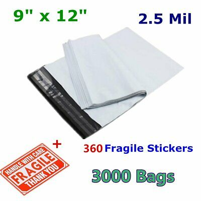 3000 9x12 VM Brand 2 Mil Poly Mailers Self Seal Plastic Bags Envelopes 100 /% New