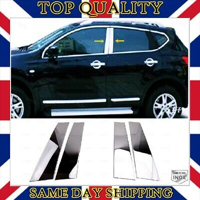 Chrome Door Post Pillar Trim 4 pcs S.STEEL to fits Nissan Qashqai / +2 2006-2013