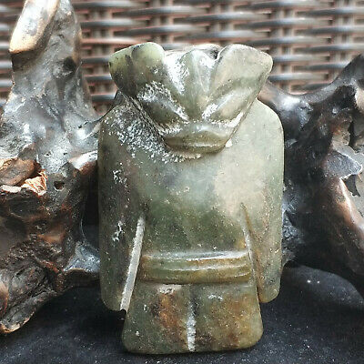 Ancient Chinese Red Mountain Culture Old Jade Bat cricket Amulet pendant 01