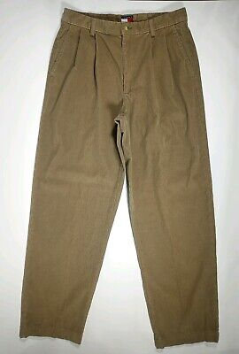 TOMMY HILFIGER MENS CORDUROY PLEATED PANTS VINTAGE BROWN Cord Trousers 32x31