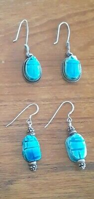 Lot (2) Antique 1920's Art Deco Scarab Earrings Egyptian Revival Sterling Silver