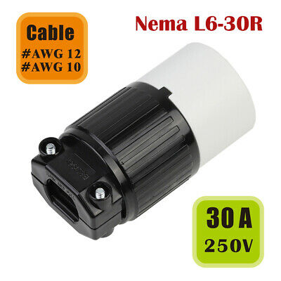 Nema L6-30R Replacement 30 Amp 250 Volt Female Twist Lock 3 Wire Power Cord Plug