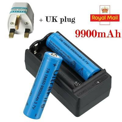 UltraFire 2X 9900mAh 3.7v Li-ion Rechargeable Batteries 18650 Battery +Charger--