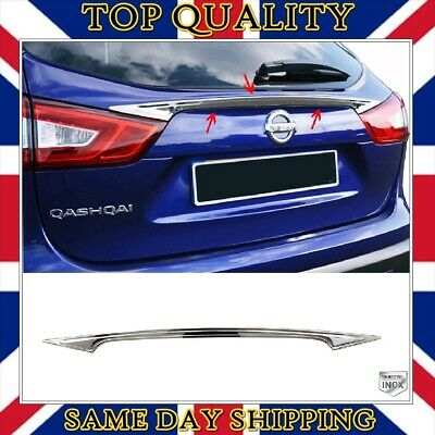 Chrome Rear Trunk Tailgate Cover S.STEEL to fits Nissan Qashqai II 2013 onwards