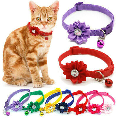 1X Adjustable dog cat collars With Flower Bells For Cats Dogs Necklace
