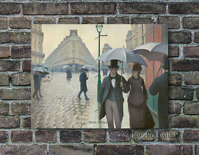 A Beautiful Paris Street Rainy Day Gustave Caillebotte Hand-Painted Repro 30x40""
