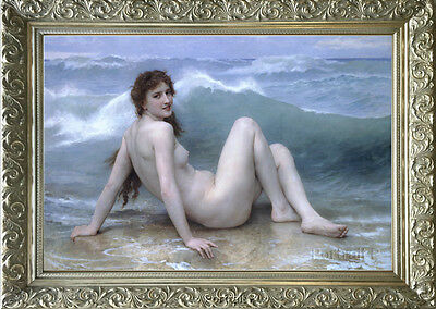 Old Master Art Oil Painting Antique Woman Lady Nude Portrait Wave Ocean 24x36