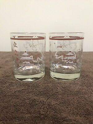 Pair Of Weighted Asian Mountain Decal Whiskey Glasses MCM