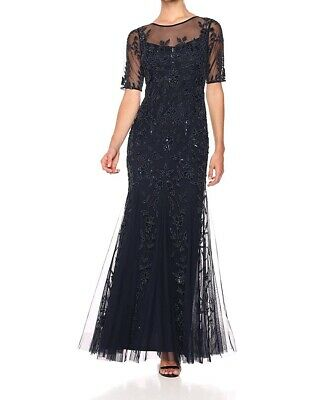 Adrianna Papell Women's Dress Navy Blue Size 6 Gown Bead Embellished