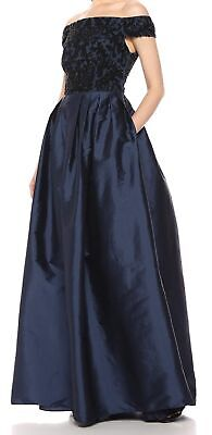 Adrianna Papell Women Dress Navy Blue Size 12 Gown Bead Embellished
