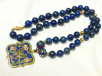 "Vintage Chinese 14k gold Lapis BEADS NECKLACE Cloisonne Pendant 22"" long, 92g"
