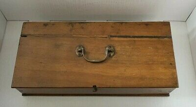 Vintage Wooden Long Box Possible Gun Case Brass Handle Nice Age