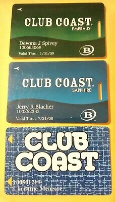 Club Coast Casino Las Vegas, Nevada 3 Different Slot Cards Great For Collection!
