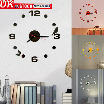 UK 3D Wall Sticker Clock Silent Home Decor Quartz Large Wall Clock Modern Design