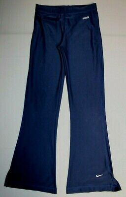 Girls Nike Dri-Fit Full Length Stretch Pants Small Blue Front Pocket Athletic