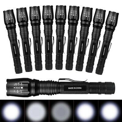 Lot Tactical 900000Lumen 5-mode T6 Zoomable 18650 LED Flashlight Torch Aluminum