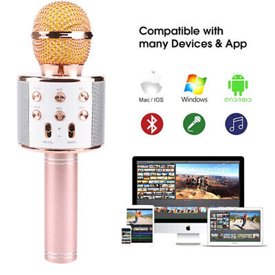 WS858 Bluetooth Karaoke Microphone Speaker Wireless Kids Singing Mic Rose Gold