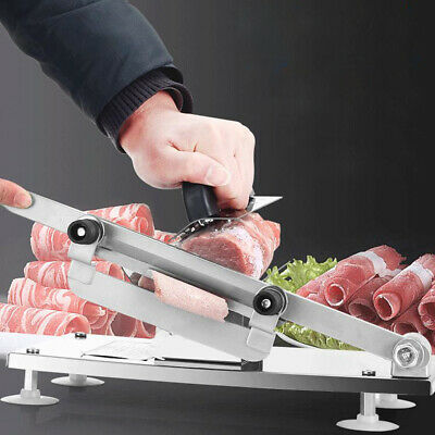 SALE!Manual Frozen Meat Slicer Beef Mutton Sheet Roll Cleavers Cutter Adjustable