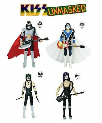"KISS Unmasked 3 3/4"" Series 2 Figures Set of 4 with Star Cases"