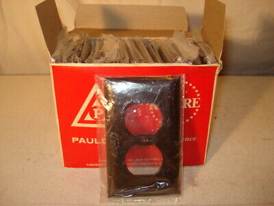 Vintage Paulding Bakelite Smooth Face Duplex Wall Plate Brown - Set Of 25