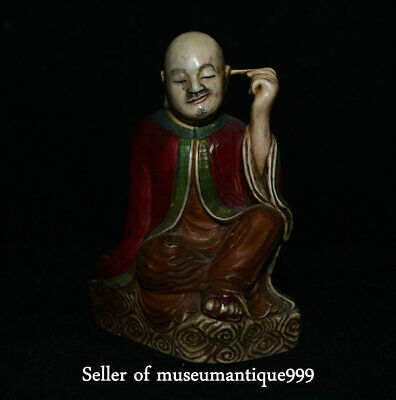 "4.4"" Rare Old Shoushan Stone Painted Carved Lohan Arhat Buddha ""挖耳朵"" Sculpture"