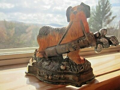 """Collectible Cast Iron Door Stop, Spaniel Dog w/Golf Bag, 7"""" by 6.5"""""""