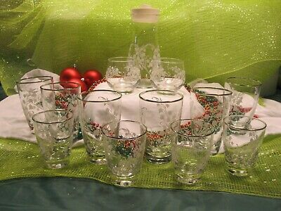 Libbey Lily of Valley Carafe Pitcher Sugar Creamer Water & Juice Glasses Lot HTF