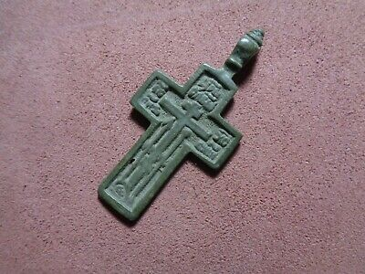 Russian empire old orthodox bronze male pendant cross 1800-1900 AD original 205