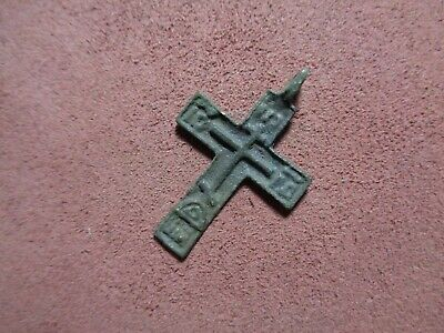 Russian empire old orthodox rare bronze pendant cross 1700-1800 AD original 224