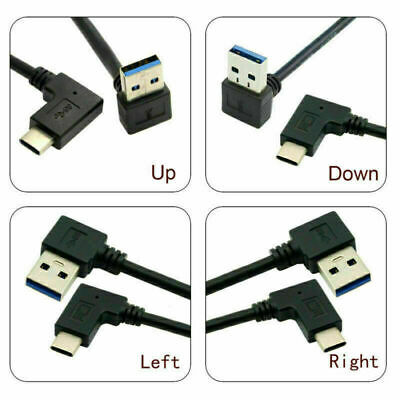 Type-C USB-C Angled Data Cable for Phone to USB3.0 Left Right Down Up Angled
