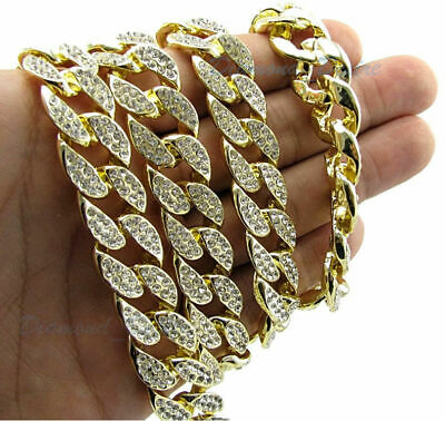 ALL SIZES ICED CHAIN 14k Gold Out Cuban Choker Necklace lab diamond hip hop 16mm