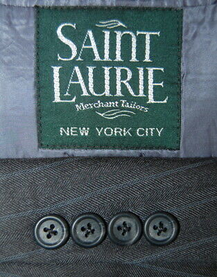 42 L Saint Laurie Custom Charcoal Grey Pin Stripe Wool Suit Pleat 36x32 Made NYC