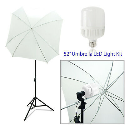 "52"" Square Shaped White Umbrella 20W LED Continuous Photography Light Stand Kit"