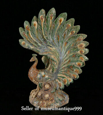 "13"" Ancient Old China Tang Sancai Porcelain Dynasty peacock peafowl Bird Statue"