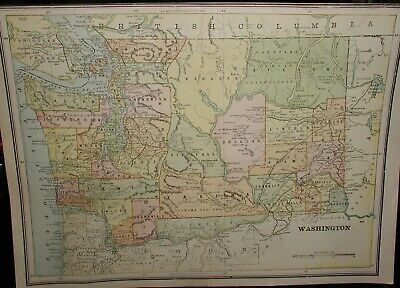 """Original 1893 Washington State Colored Map~9.5""""x 13"""" from Old Atlas"""