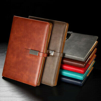 A5 Leather Business Journal Notebook Lined Paper Diary Planner with Buckle