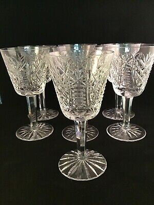 Vintage Waterford Irish Crystal Clare Wine Glasses Old Gothic Mark Rare Mint (7)