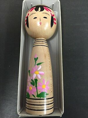 A Japanese Kokeshi Wood Doll Kokubi Chan Pink Flower 120mm MADE IN JAPAN