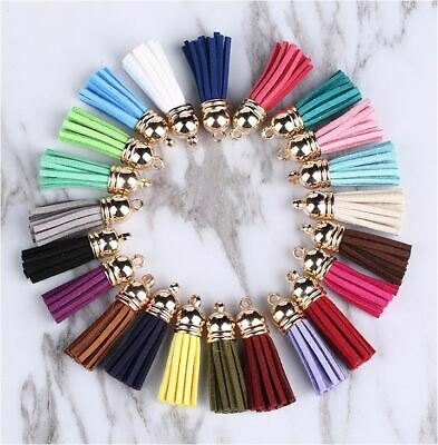 10 x 4cm Long Mixed Assorted Colour Leather Tassel - DIY Craft Keyring