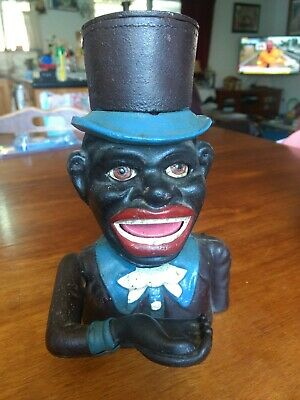 Money Bank Antique / Vintage Style Cast Iron Mechanical Jolly Maker With Hat Box