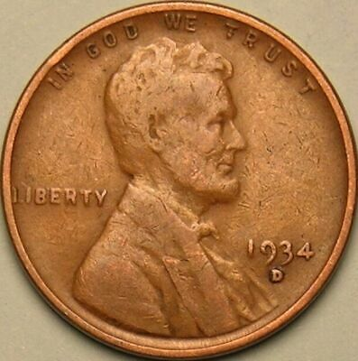 1934 D Lincoln Wheat Penny - G/VG