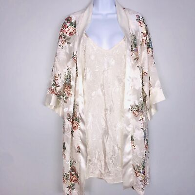 California Dynasty Women Robe Kathryn Nightgown SZ M Beige Floral 2 Piece Lot 3