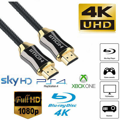 Braided HDMI Cable v2.0 Ultra HD 4K 3D High Speed Ethernet Gold Plated For PS4
